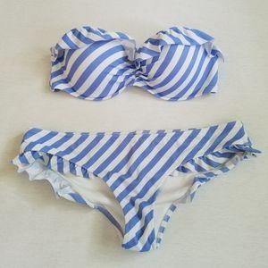 Victoria's Secret bikini striped ruffles S 34C